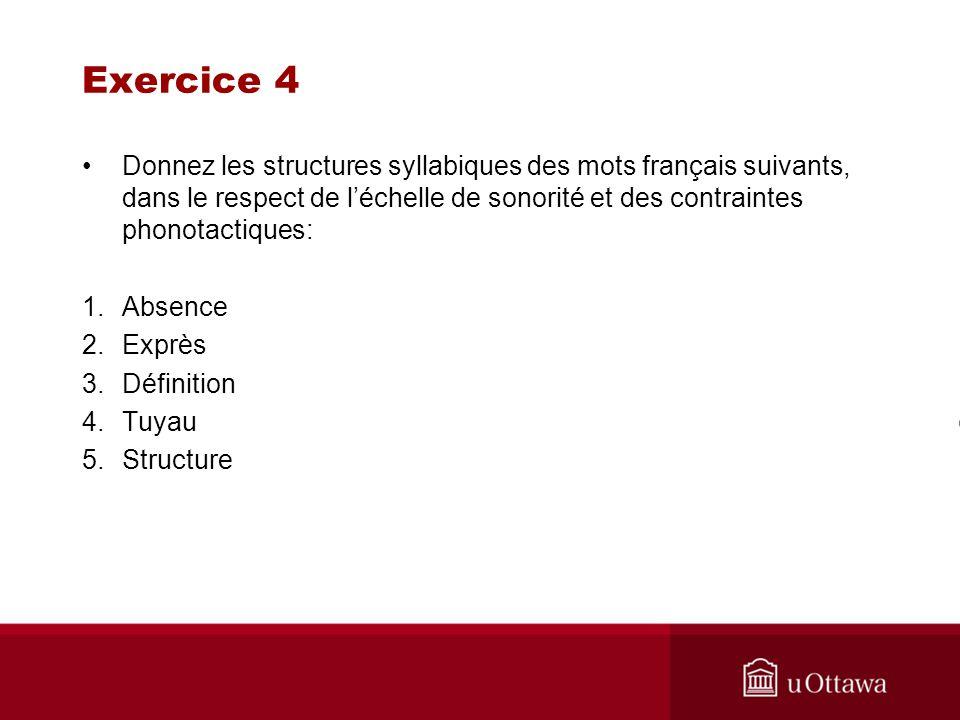 Exercice 4 Donnez les structures syllabiques des mots français suivants, dans le respect de léchelle de sonorité et des contraintes phonotactiques: 1.