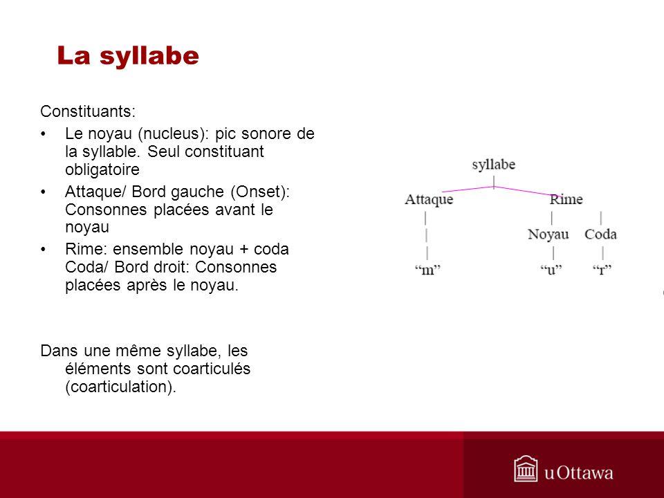 La syllabe Constituants: Le noyau (nucleus): pic sonore de la syllable. Seul constituant obligatoire Attaque/ Bord gauche (Onset): Consonnes placées a