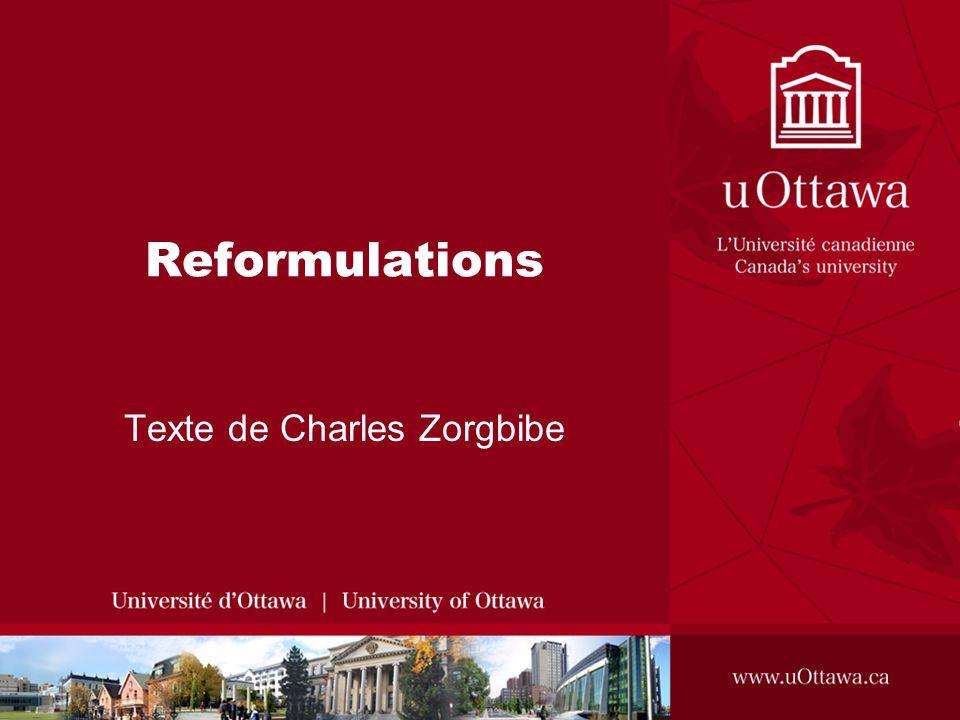 Reformulations Texte de Charles Zorgbibe