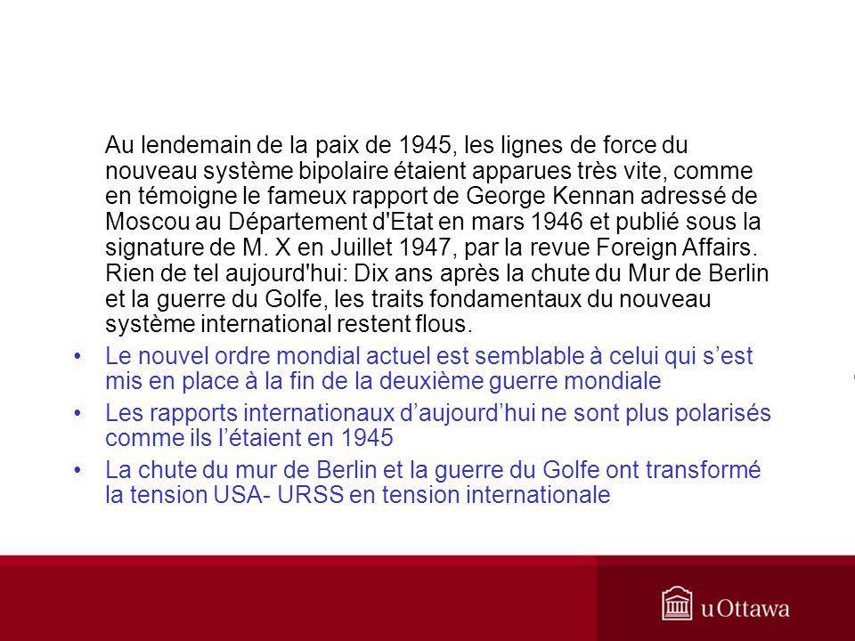 Au lendemain de la paix de 1945, les lignes de force du nouveau système bipolaire étaient apparues très vite, comme en témoigne le fameux rapport de G