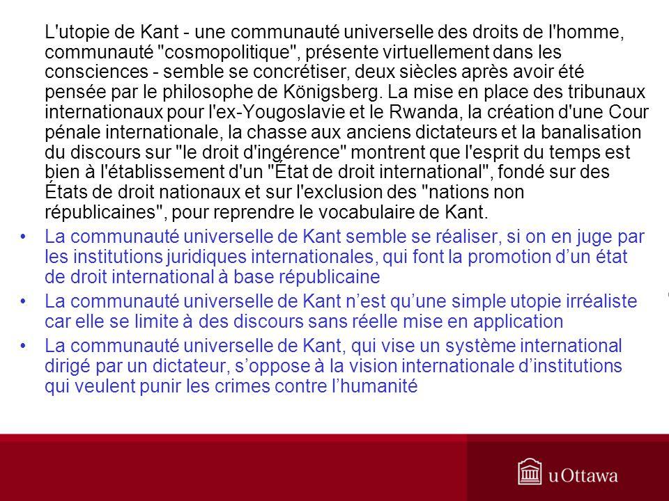 L'utopie de Kant - une communauté universelle des droits de l'homme, communauté