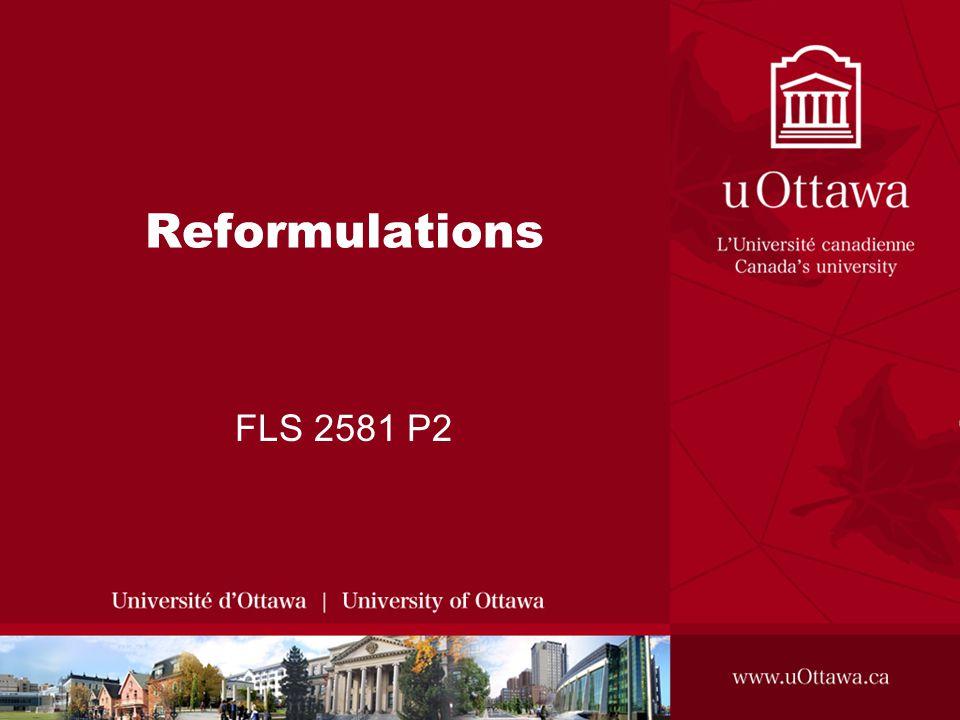 Reformulations FLS 2581 P2