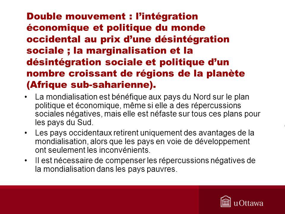 Double mouvement : lintégration économique et politique du monde occidental au prix dune désintégration sociale ; la marginalisation et la désintégration sociale et politique dun nombre croissant de régions de la planète (Afrique sub-saharienne).