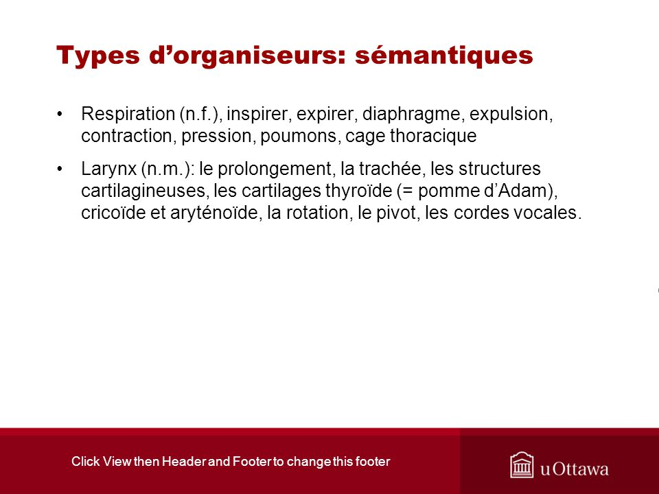 Click View then Header and Footer to change this footer Types dorganiseurs: sémantiques Respiration (n.f.), inspirer, expirer, diaphragme, expulsion, contraction, pression, poumons, cage thoracique Larynx (n.m.): le prolongement, la trachée, les structures cartilagineuses, les cartilages thyroïde (= pomme dAdam), cricoïde et aryténoïde, la rotation, le pivot, les cordes vocales.
