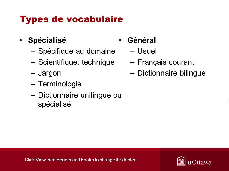 Click View then Header and Footer to change this footer Types de vocabulaire Spécialisé –Spécifique au domaine –Scientifique, technique –Jargon –Termi