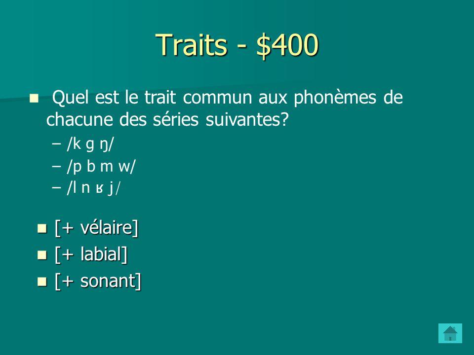 Traits - $300 Quels traits distinguent les segments ou classes de segments suivants .