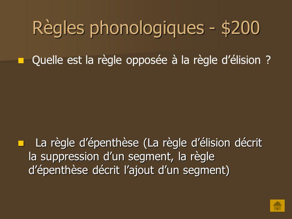 Règles phonologiques - $100 Quels sont les deux types de règles phonologiques et que font-elles ?.