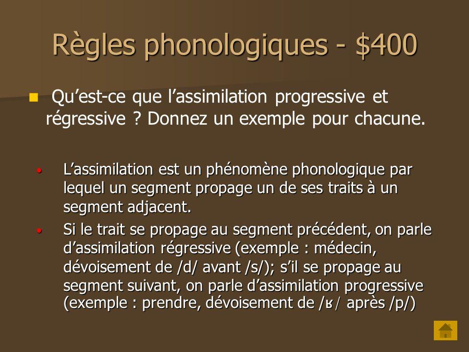 Règles phonologiques - $300 Quelle règle phonologique est une règle transformationnelle .