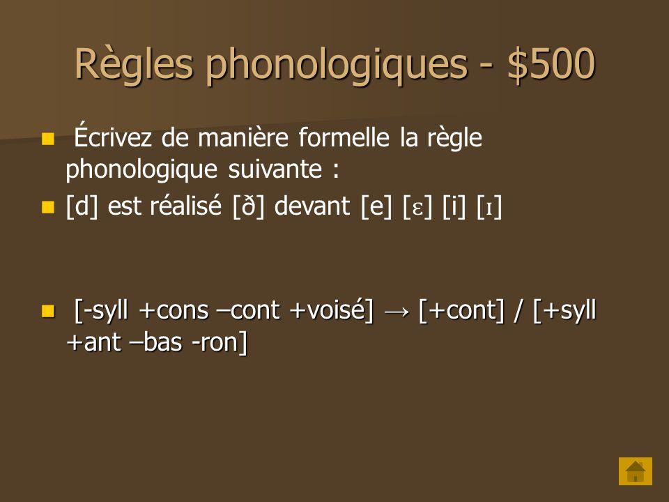 Règles phonologiques - $400 Quest-ce que lassimilation progressive et régressive .
