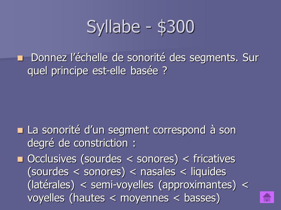 Syllabe - $200 En français, quels segments peuvent constituer le noyau, lattaque et la coda .