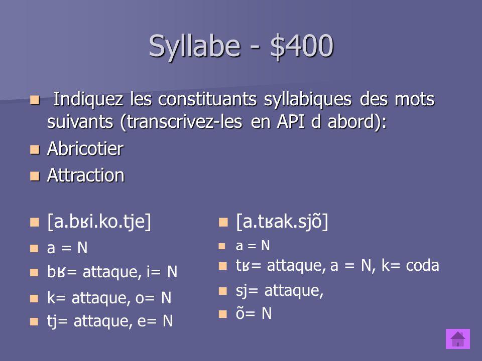 Syllabe - $300 Donnez léchelle de sonorité des segments.