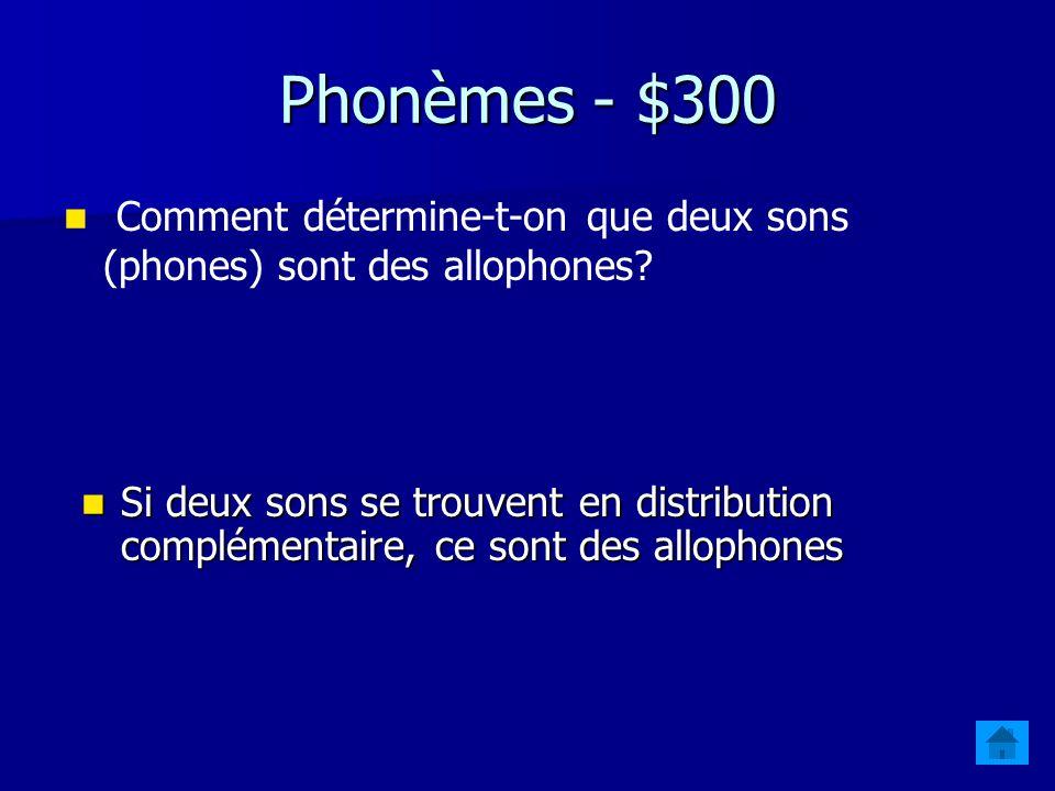 Phonèmes - $200 Comment détermine-t-on que deux sons (phones) sont des phonèmes .