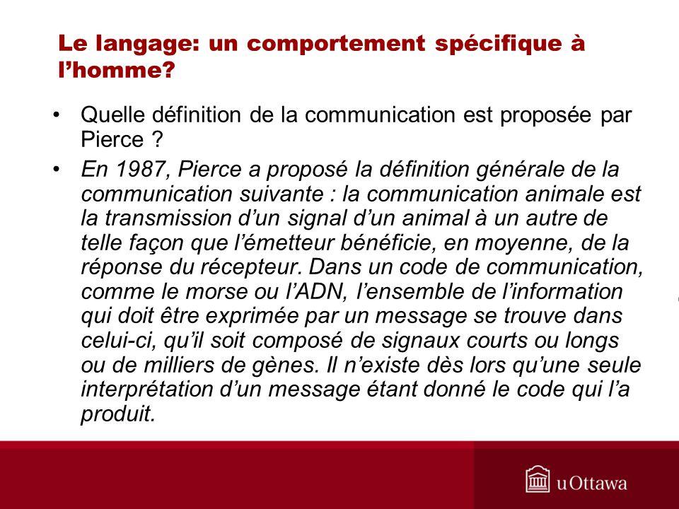 Le langage: un comportement spécifique à lhomme? Quelle définition de la communication est proposée par Pierce ? En 1987, Pierce a proposé la définiti
