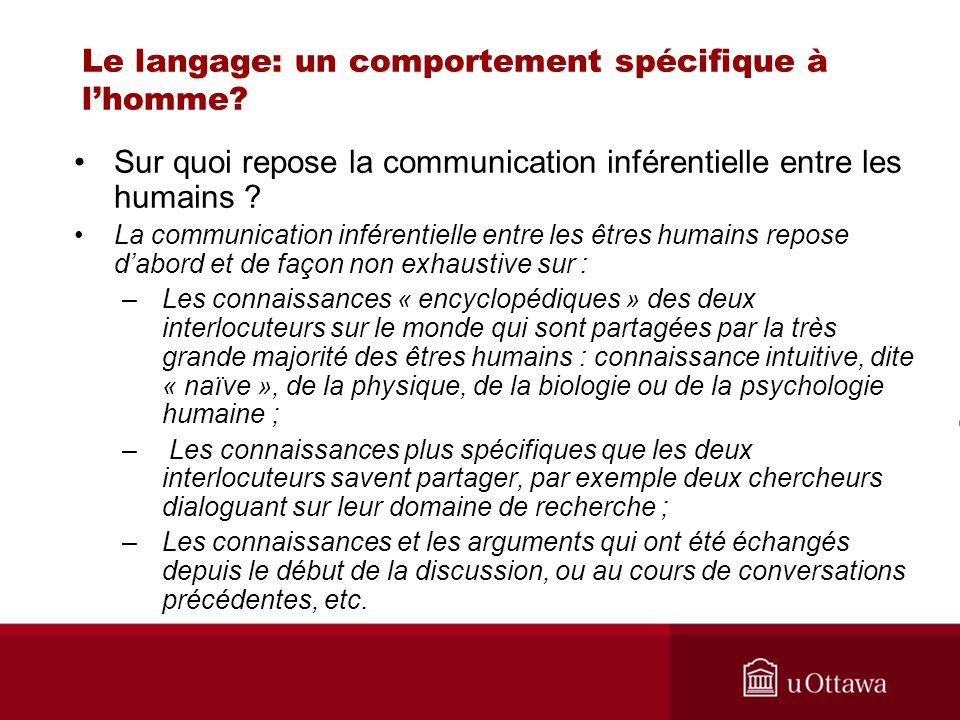 Le langage: un comportement spécifique à lhomme? Sur quoi repose la communication inférentielle entre les humains ? La communication inférentielle ent