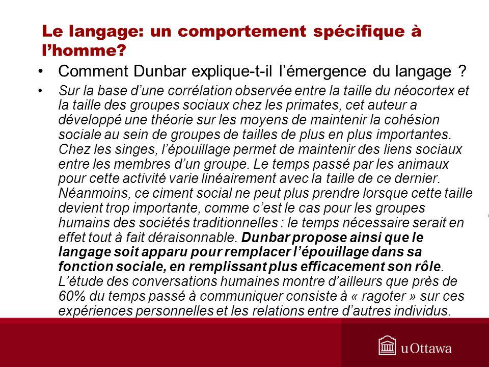 Le langage: un comportement spécifique à lhomme? Comment Dunbar explique-t-il lémergence du langage ? Sur la base dune corrélation observée entre la t