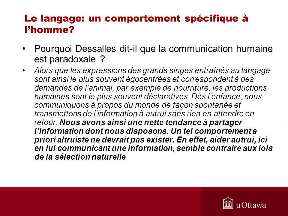 Le langage: un comportement spécifique à lhomme? Pourquoi Dessalles dit-il que la communication humaine est paradoxale ? Alors que les expressions des