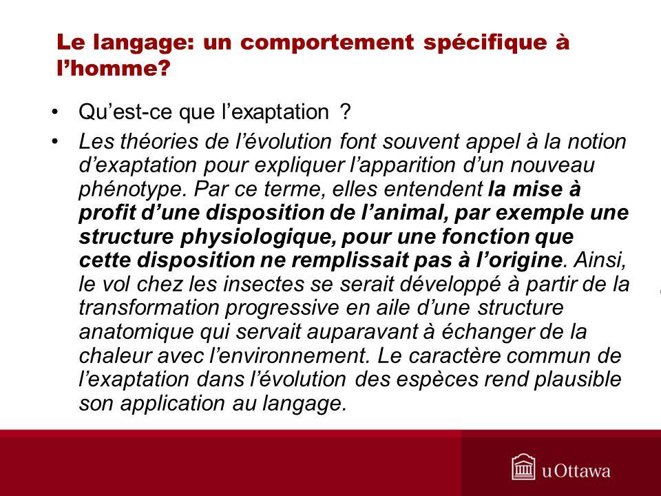 Le langage: un comportement spécifique à lhomme? Quest-ce que lexaptation ? Les théories de lévolution font souvent appel à la notion dexaptation pour