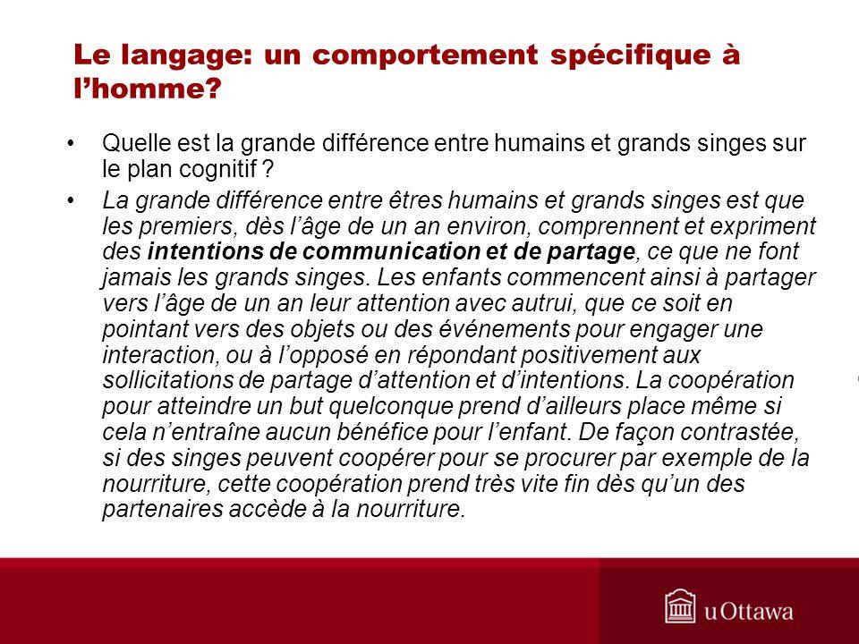 Le langage: un comportement spécifique à lhomme? Quelle est la grande différence entre humains et grands singes sur le plan cognitif ? La grande diffé