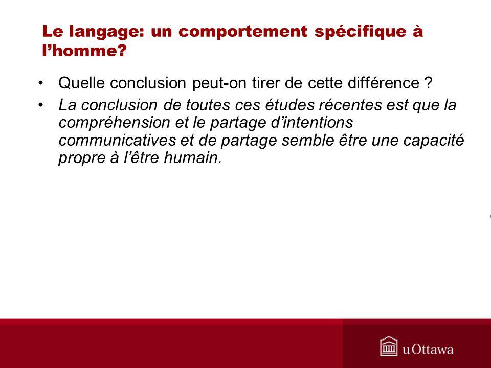 Le langage: un comportement spécifique à lhomme? Quelle conclusion peut-on tirer de cette différence ? La conclusion de toutes ces études récentes est