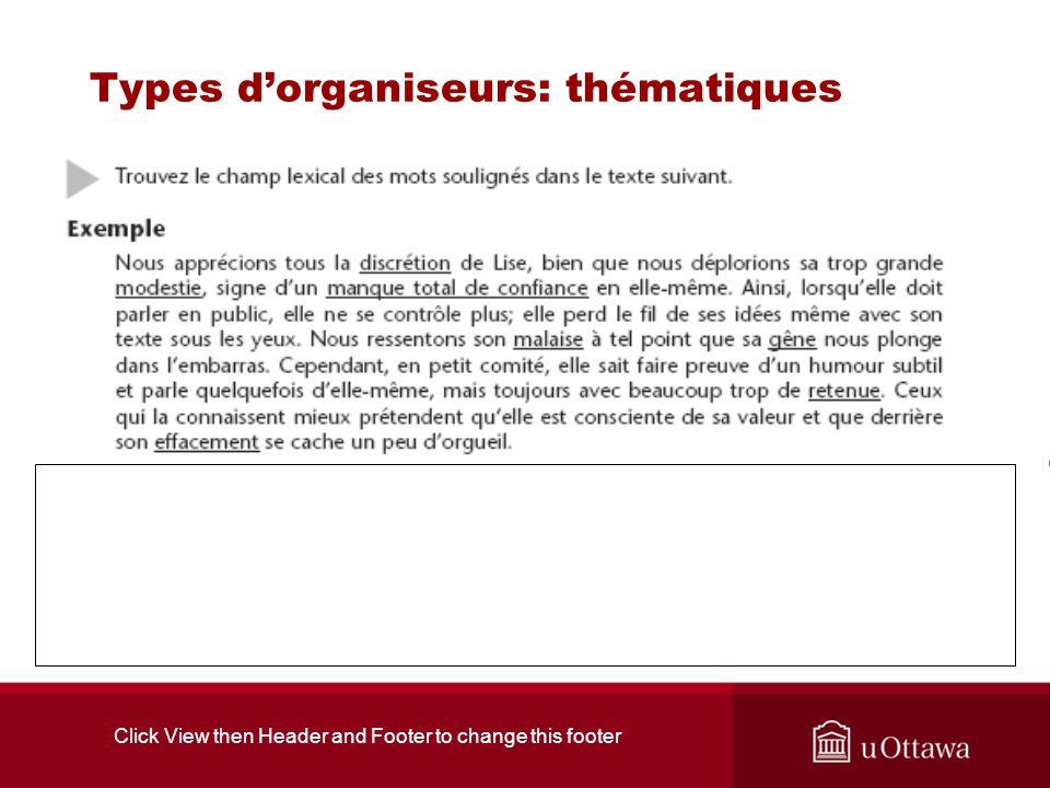 Click View then Header and Footer to change this footer Types dorganiseurs: thématiques