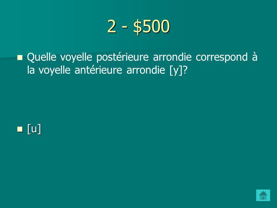 2 - $400 Quelle voyelle non-arrondie correspond à la voyelle arrondie [Ø]? [e] [e]