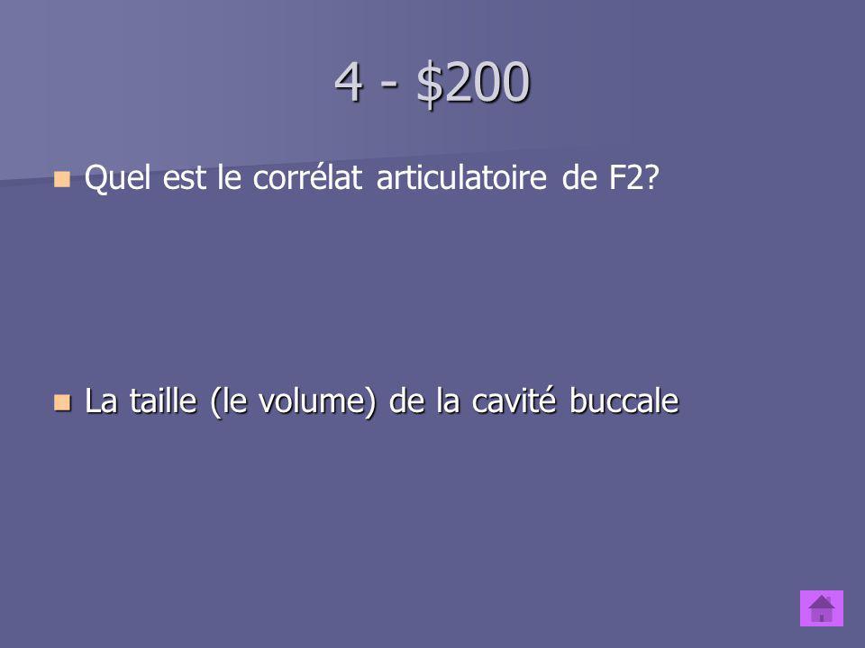 4 - $100 Quel est le corrélat articulatoire de F1? La taille (le volume) de la cavité pharyngale La taille (le volume) de la cavité pharyngale