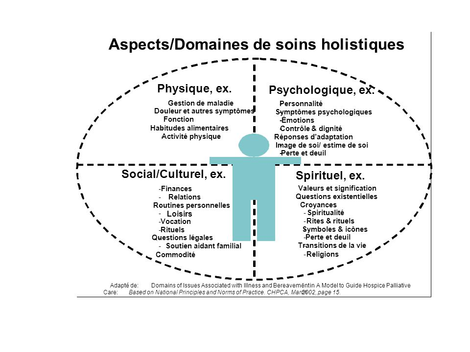 Aspects/Domaines de soins holistiques Adapté de:Domains of Issues Associated with Illness and Bereavementin A Model to Guide Hospice Palliative Care:B