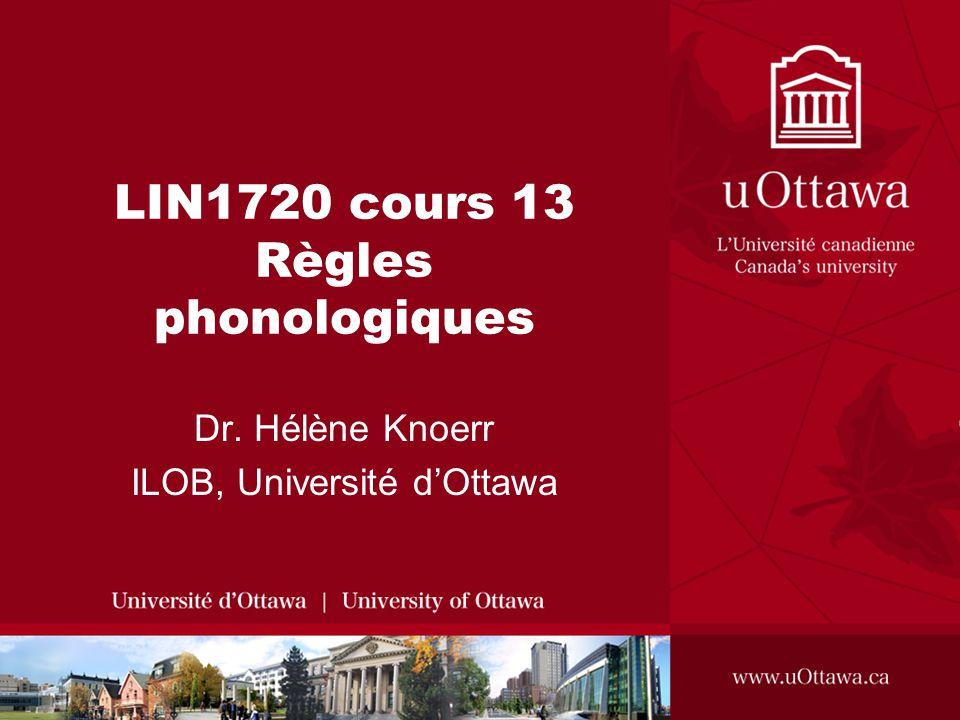LIN1720 cours 13 Règles phonologiques Dr. Hélène Knoerr ILOB, Université dOttawa