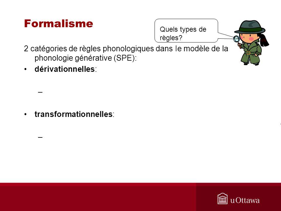 Formalisme 2 catégories de règles phonologiques dans Ie modèle de la phonologie générative (SPE): dérivationnelles: – transformationnelles: – Quels ty