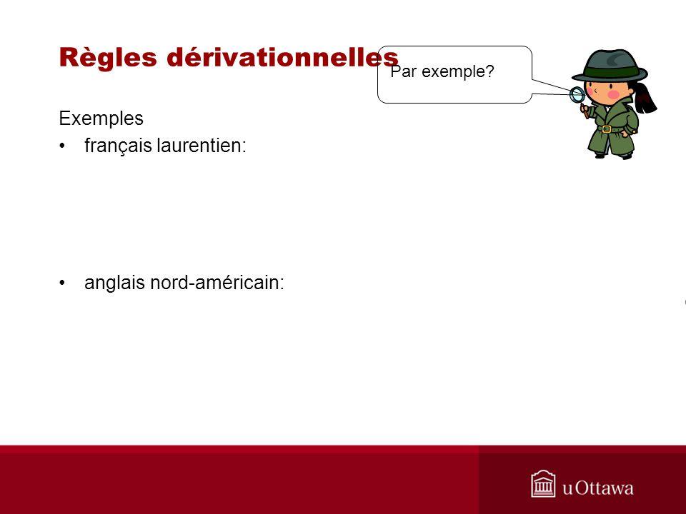 Règles dérivationnelles Exemples français laurentien: anglais nord-américain: Par exemple?