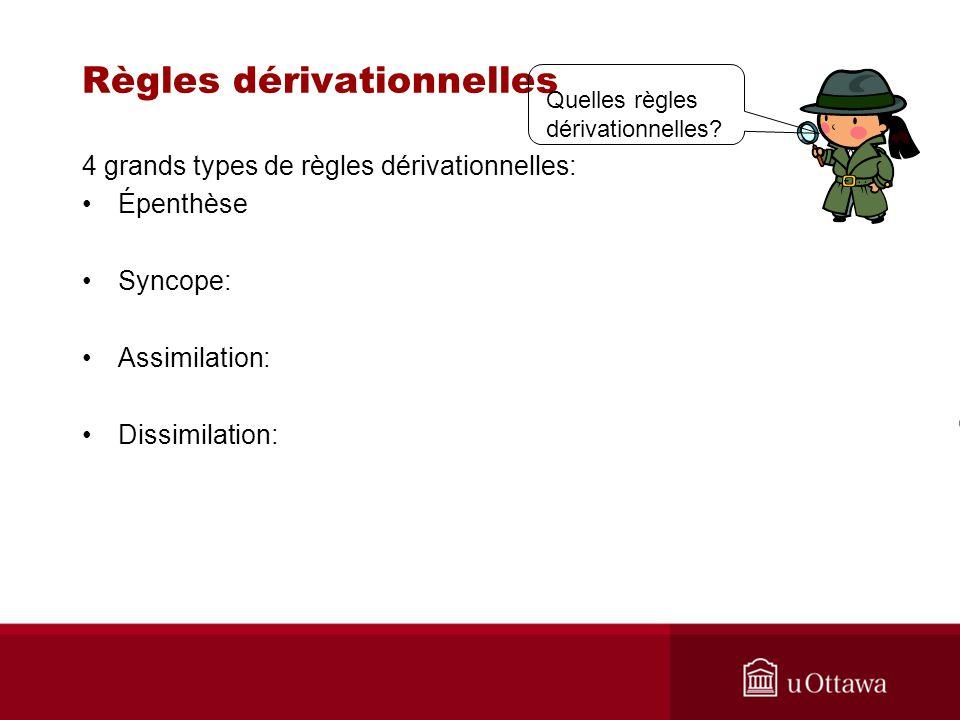 Règles dérivationnelles 4 grands types de règles dérivationnelles: Épenthèse Syncope: Assimilation: Dissimilation: Quelles règles dérivationnelles?