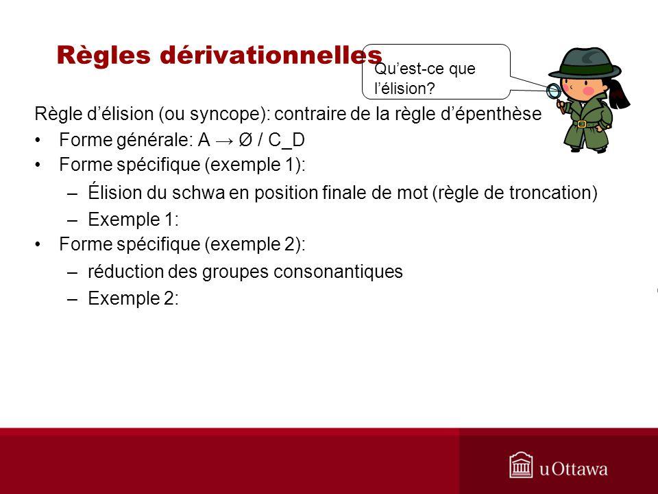 Règles dérivationnelles Règle délision (ou syncope): contraire de la règle dépenthèse Forme générale: A Ø / C_D Forme spécifique (exemple 1): –Élision