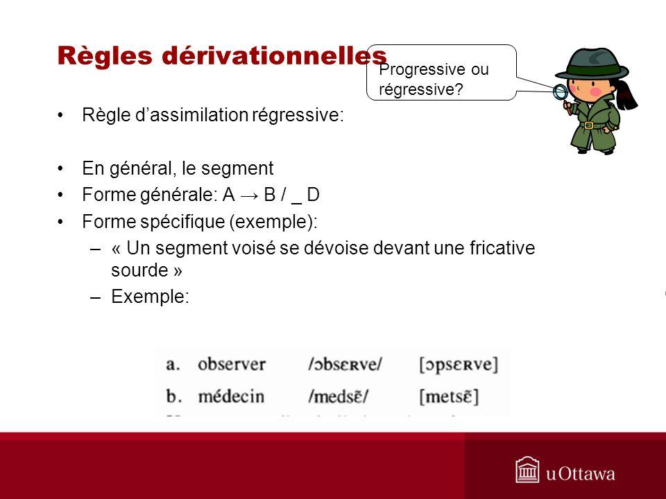 Règles dérivationnelles Règle dassimilation régressive: En général, le segment Forme générale: A B / _ D Forme spécifique (exemple): –« Un segment voisé se dévoise devant une fricative sourde » –Exemple: Progressive ou régressive?