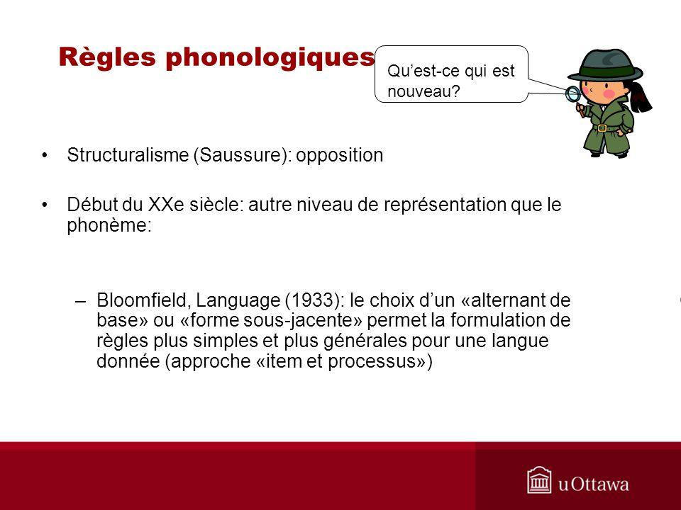 Règles phonologiques Structuralisme (Saussure): opposition Début du XXe siècle: autre niveau de représentation que le phonème: –Bloomfield, Language (