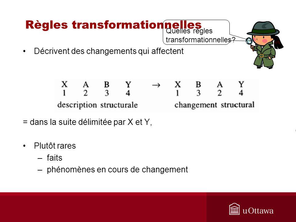 Règles transformationnelles Décrivent des changements qui affectent = dans la suite délimitée par X et Y, Plutôt rares –faits –phénomènes en cours de changement Quelles règles transformationnelles?