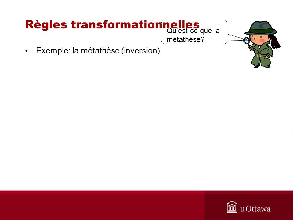 Règles transformationnelles Exemple: la métathèse (inversion) Quest-ce que la métathèse?