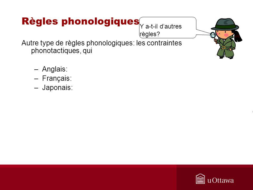 Règles phonologiques Autre type de règles phonologiques: les contraintes phonotactiques, qui –Anglais: –Français: –Japonais: Y a-t-il dautres règles?