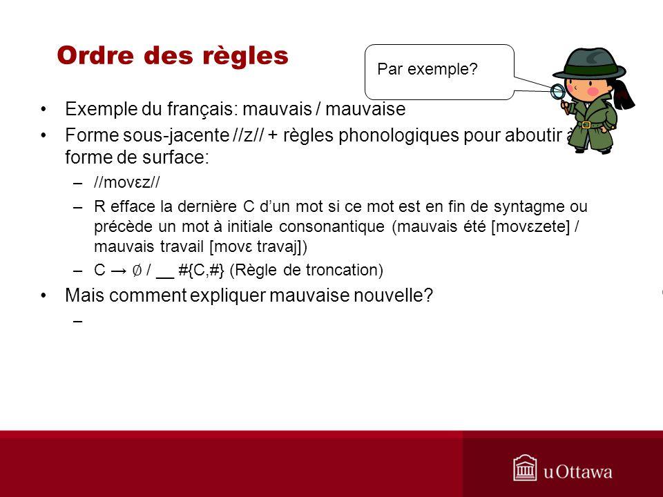 Ordre des règles Exemple du français: mauvais / mauvaise Forme sous-jacente //z// + règles phonologiques pour aboutir à la forme de surface: –//movεz/