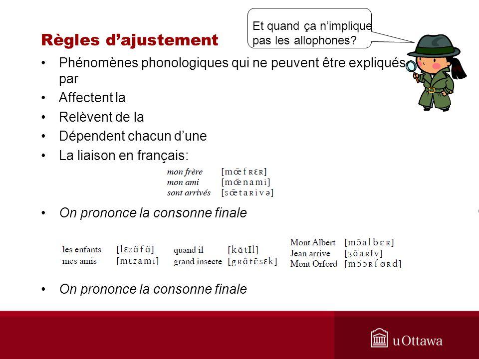 Règles dajustement Phénomènes phonologiques qui ne peuvent être expliqués par Affectent la Relèvent de la Dépendent chacun dune La liaison en français