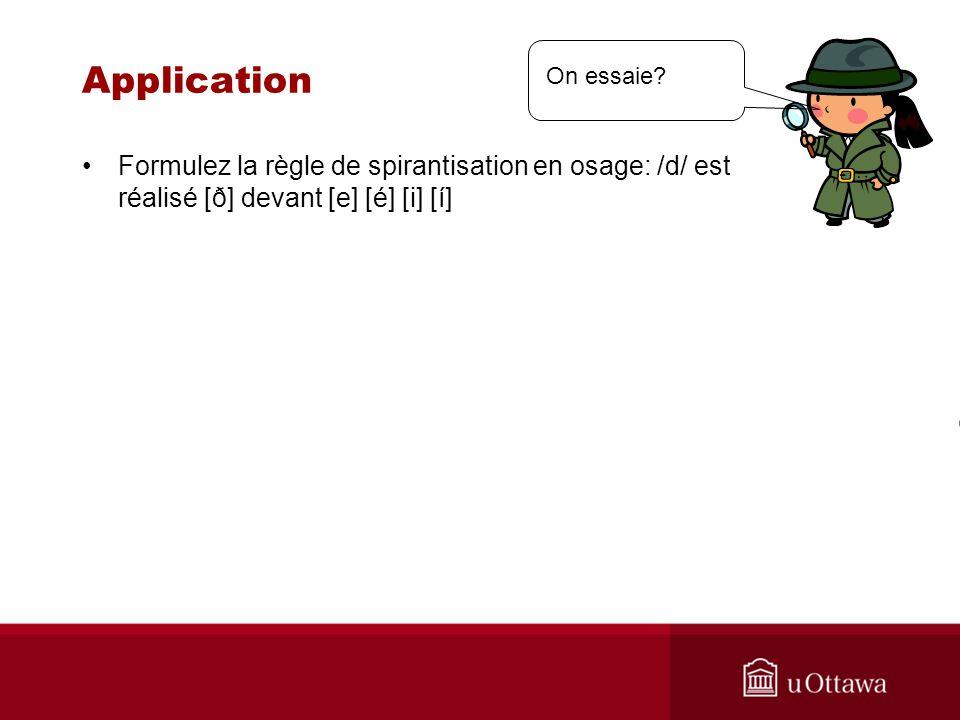 Application Formulez la règle de spirantisation en osage: /d/ est réalisé [ð] devant [e] [é] [i] [í] On essaie?
