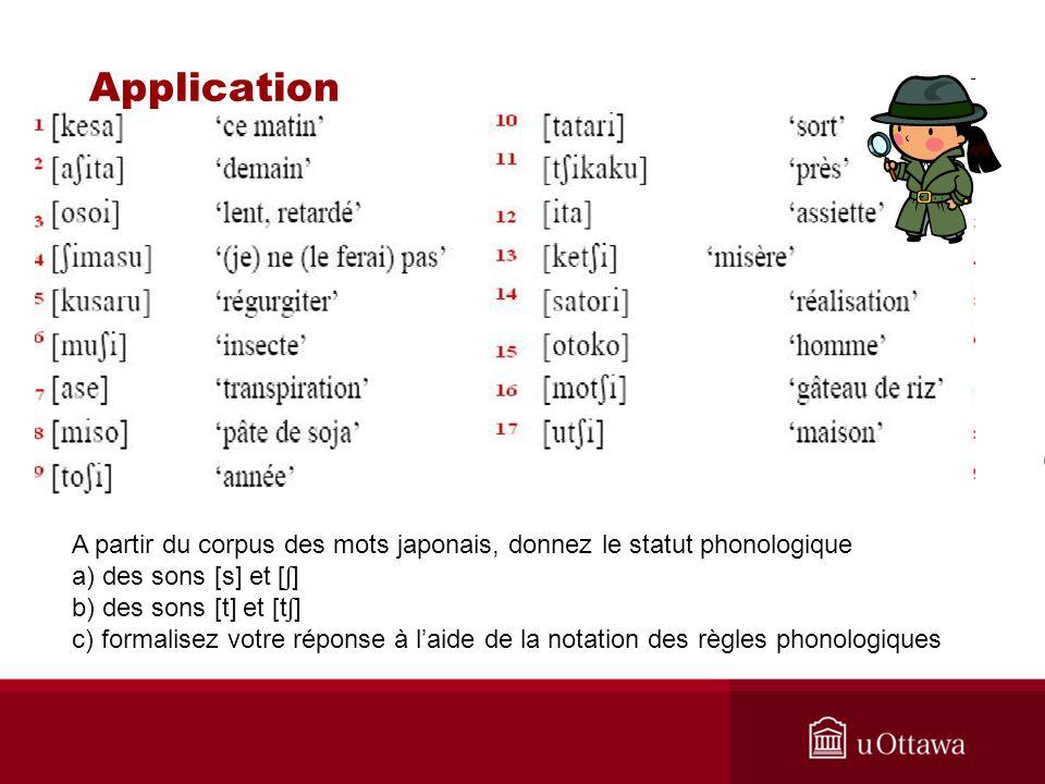 A partir du corpus des mots japonais, donnez le statut phonologique a) des sons [s] et [ ʃ ] b) des sons [t] et [t ʃ ] c) formalisez votre réponse à laide de la notation des règles phonologiques Application