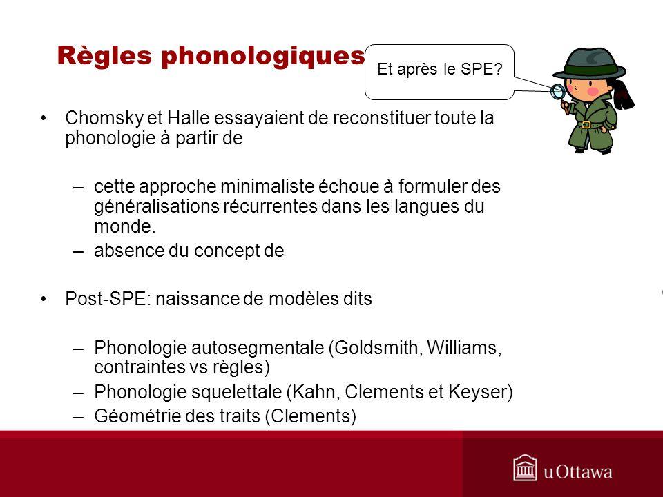 Règles phonologiques Chomsky et Halle essayaient de reconstituer toute la phonologie à partir de –cette approche minimaliste échoue à formuler des généralisations récurrentes dans les langues du monde.