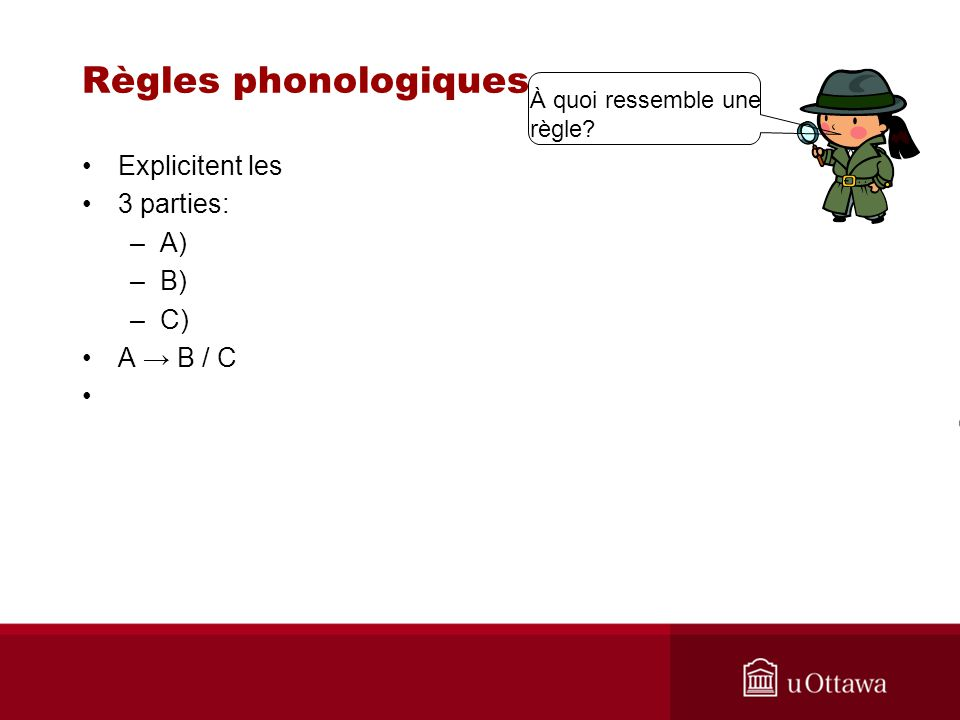 Règles phonologiques Explicitent les 3 parties: –A) –B) –C) A B / C À quoi ressemble une règle?