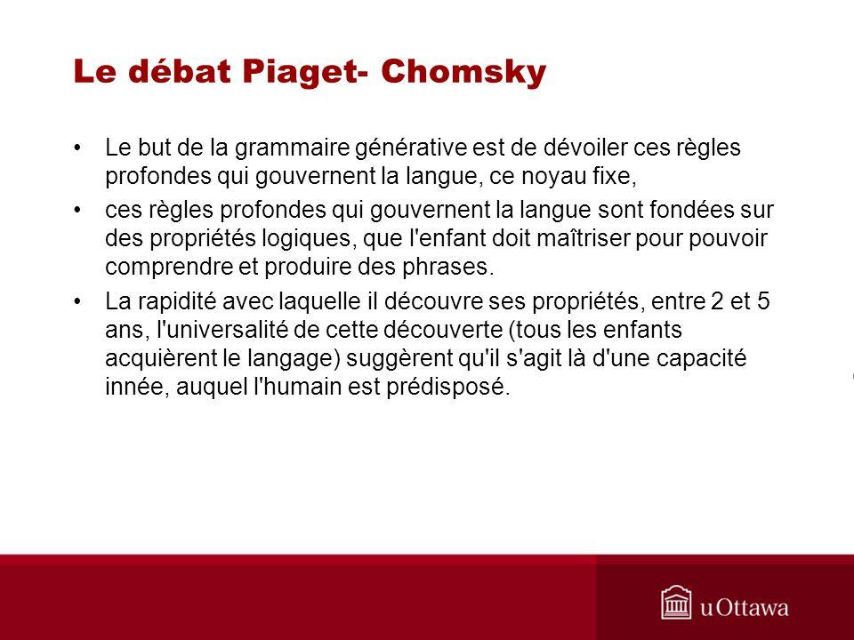 Le débat Piaget- Chomsky Le but de la grammaire générative est de dévoiler ces règles profondes qui gouvernent la langue, ce noyau fixe, ces règles profondes qui gouvernent la langue sont fondées sur des propriétés logiques, que l enfant doit maîtriser pour pouvoir comprendre et produire des phrases.