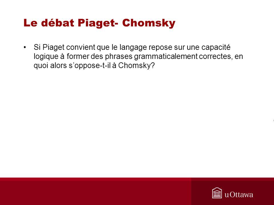 Le débat Piaget- Chomsky Si Piaget convient que le langage repose sur une capacité logique à former des phrases grammaticalement correctes, en quoi alors soppose-t-il à Chomsky?