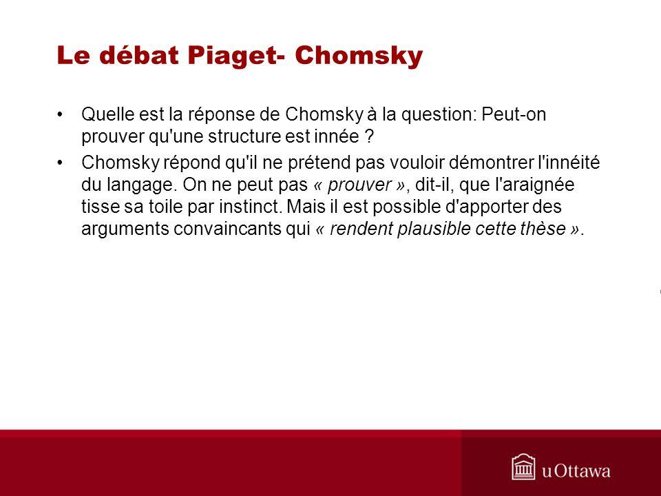 Le débat Piaget- Chomsky Quelle est la réponse de Chomsky à la question: Peut-on prouver qu une structure est innée .