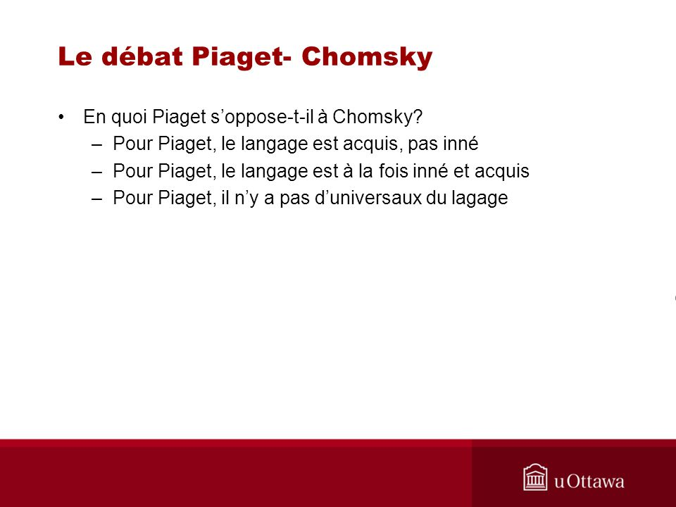 Le débat Piaget- Chomsky Quelle hypothèse concurrente est proposée par Piaget.