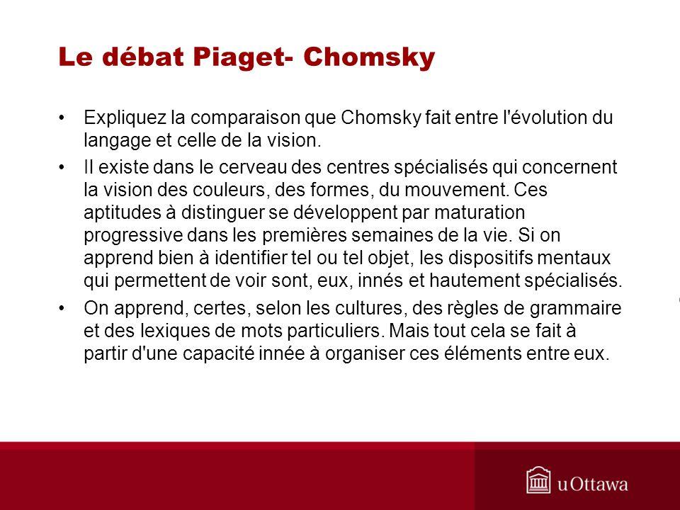 Le débat Piaget- Chomsky Expliquez la comparaison que Chomsky fait entre l évolution du langage et celle de la vision.