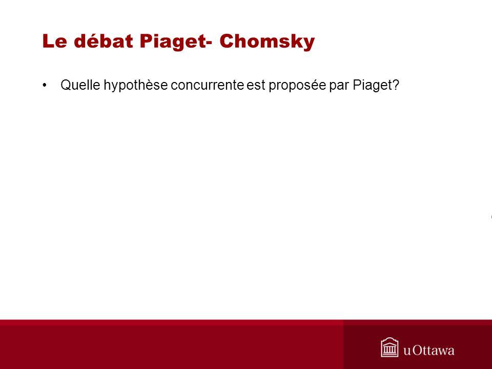 Le débat Piaget- Chomsky Quelle hypothèse concurrente est proposée par Piaget?