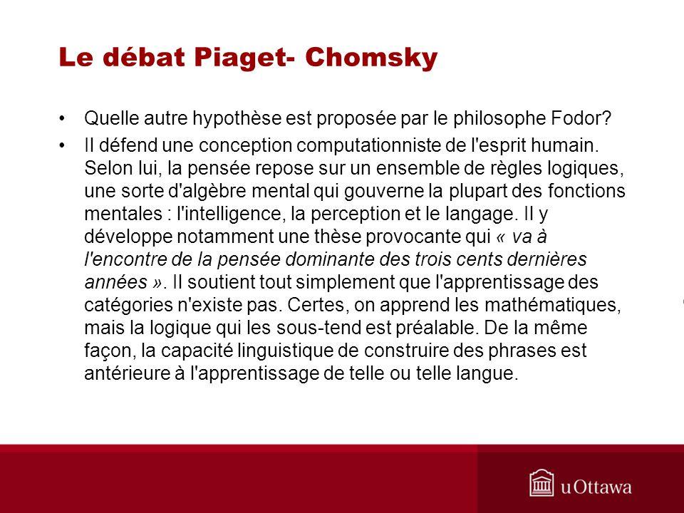 Le débat Piaget- Chomsky Quelle autre hypothèse est proposée par le philosophe Fodor.